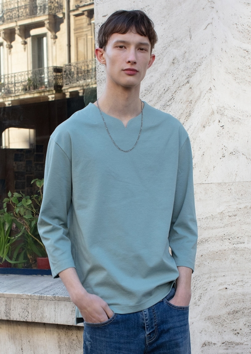 MENS POINTED U-NECK T-SHIRTS (PWTZ1RLL14MOMT)_MINT